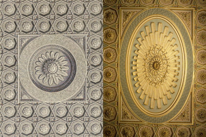 "At left, a detail of the cella ceiling at the Temple of Bel from ""The Ruins of Palmyra,"" by Robert Wood (London, 1753). At right, a detail of a ceiling at Osterley Park by Robert Adam."