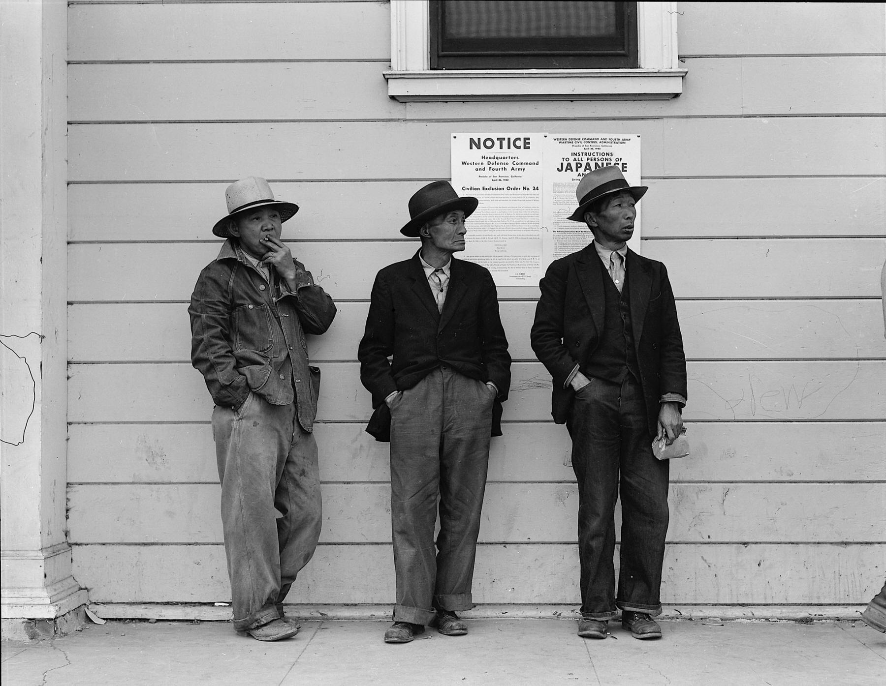 Field laborers in front of a Wartime Civil Control Administration station in Byron, where they had come for instructions and assistance regarding their relocation.