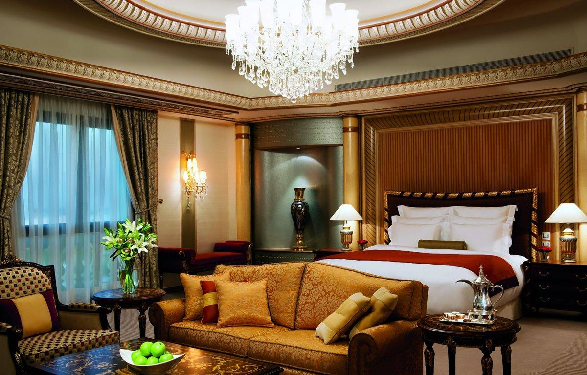 "The elegant ""royal suites"" at the Ritz-Carlton Riyadh feature king-sized beds, 42-inch TVs, fully stocked mini bars and 24-hour room service."