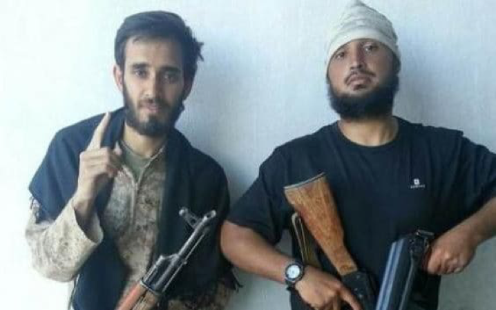 Social media picture showing, on the left, British jihadist Shabazz Suleman from High Wycombe, in Isil territory. Credit: Social media