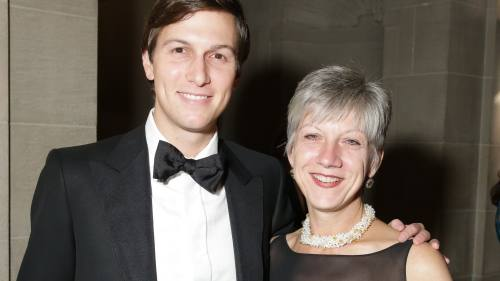 Jared Kushner (left), the president's son-in-law, pictured in 2014 with Rosemary Vrablic, Trump's long-time wealth manager